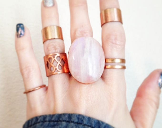 Rainbow Moonstone Cuff Ring with Rose Gold Leaf, Moonstone Statement Ring, Copper Moonstone Ring, Size 8.75  Ring