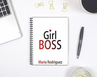 Girl Boss Personalized Notebook, Personalized Spiral Notebook, Spiral Notebook, Spiral Bullet Journal Notebook, Customizable Notebook A5