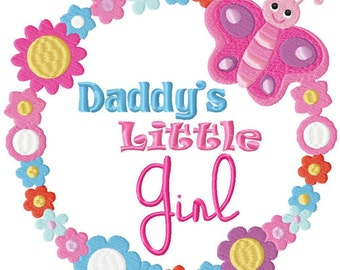 Daddy's Little Girl Baby Embroidery Design File .vip .vp3 .hus .pes .pec .jef .sew .xxx .csd .dst .exp .emd .10o .pcs .pcm + 4x4 hoop