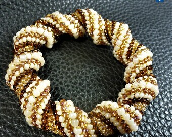 Splendid Natural Tones & Ivory Glass Weaved Bangle Bracelet