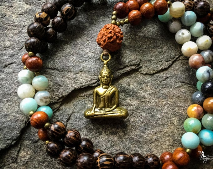Buddha meditation Mala beads with amazonite japa 108 beads for your mantras - inspired jewelry by Creations Mariposa