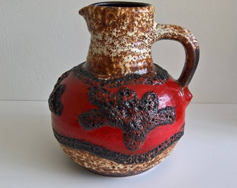Bay Keramik, Handled Vase, Red, Black, White, Earthtone, Fat Lava, Nr 631 20, West German Pottery, 1970s
