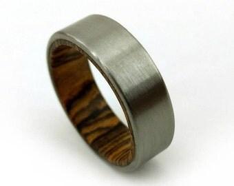 Satin Bocote Ring, Satin Titanium Ring, Bocote Wood Design, Handmade Jewelry, Colorado Jewelry, American Ring, Men's Gift, Women's Gift, GJG