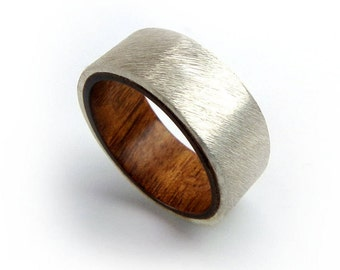 Mopani Wood Ring, Exotic Jewelry, Sterling Silver Ring, Aquarium Driftwood, Fish Aquarium, Hardwood Ring, Silver Ring