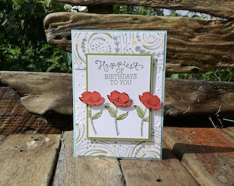 Happiest of Birthdays To You Poppy Card, B'day, Flower, Floral, Happy, Pretty, Blank, Garden, Nature, Shimmer, Red, Green, Yellow, Blue