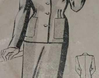 """Maudella 4005 original  1940's skirt  suit sewing pattern jacket with pckets  and skirt size 14  Bust 36"""" ref SP 63"""