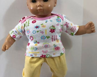 "15 inch Bitty Baby Clothes, 2-Piece Outfit, Cool Garden of ""FLOWERS & BUTTERFLIES"" Top, Yellow Pants, 15 inch Bitty Baby/Twin, American Doll"