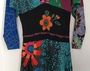 gorgeous Designer Desigual Long Sleeved Dress/tunic. sIZE LARGE