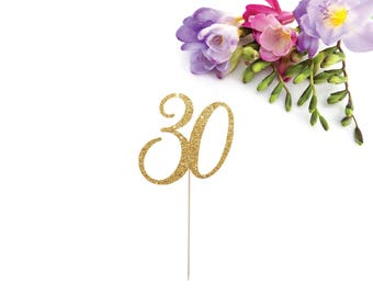 30 Cake Topper, Thirty Cake Topper, 30th Birthday Cake Topper, Thirtieth Cake Topper, Age Cake Topper, Hello 30, Glitter Thirty Cake Topper