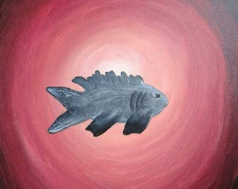 Evil Fish acrylic painting