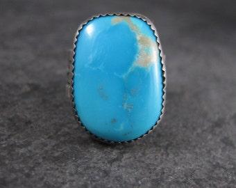 Large Vintage Southwestern Turquoise Ring Size 8