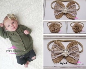 Hair Bows for girls - burlap hair bow - baby girl headband - baby headband - rustic - vintage - toddler headband - burlap headband
