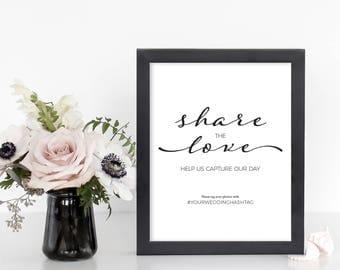 Instagram Wedding Sign - Share the Love Wedding Sign - Editable Instagram Sign - Editable Wedding Instagram Template - Wedding Sign Template