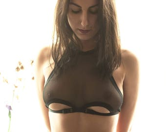 See Through Lingerie, Erotic Lingerie, Womens Bralette, Black Bra, Fetish Bra, Womens Bra, Hot Bra, Mesh Lingerie, Mesh Bra, Sheer Lingerie