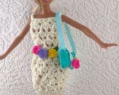 Barbie hat dress and handbag. OOAK hand knitted dress and hand made hat and purse for 12inch fashion doll. Cream lacy dress. Blue hatbag.