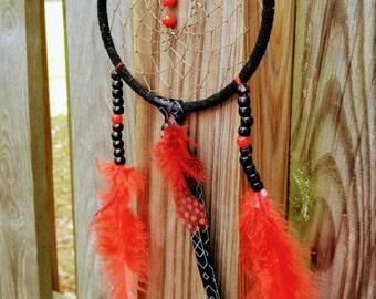 Black and red dreamcatcher, bright red dreamcatcher, small black beaded dreamcatcher
