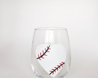 Baseball wine glass//Spring wine glass//baseball lovers gift