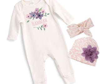 Personalized Newborn Girl Coming Home Outfit, Newborn Girl Outfit, Personalized Newborn Outfit, Welcome Baby Girl, Tesa Babe, Pink, TesaBabe