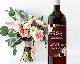 Bridesmaid Wine labels, bridesmaid wine labels - Winter Wedding Bridesmaid Proposal or Maid of Honor Box Bridal Party Gift Fall Wedding