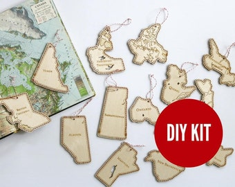 Stitch a province of Canada kit - easy DIY wood kit - beginners kit- holiday ornament kit by Canadian Stitchery