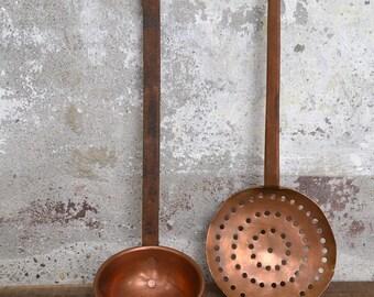Old copper ladle, old copper ladle, old italian copper, copper kitchenware, vintage copper kitchenware, old copper ladle, copper strainer