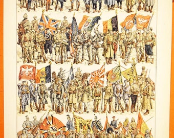 Great War Soldiers Lithograph - 1920s Larousse - French - Made in Paris, France - 100% Original - WWI Army Print - Art de la Grande Guerre
