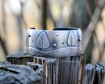 Trees sterling silver cuff bracelet | Winter snow bracelet | Wide cuff silver bracelet | Winter trees bracelet | Nature silver bracelet