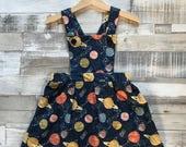 Galaxy dress for girls - Space Dress - Girls Party Dress - Patterned Pinafore Dress - Star Print Dress - Baby Pinafore Dress