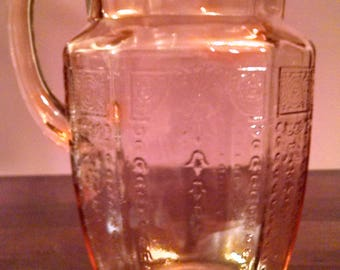 pink princess anchor hocking 60 oz. glass pitcher