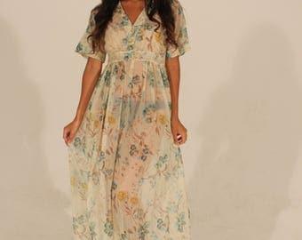 70s Dress Vintage Dress Sheer Dress Sheer Floral Dress Small Dress Maxi Dress Summer Dress Bohemian Dress