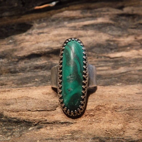 Large Southwestern Sterling Silver Ring 7.9 Grams Vintage Sterling Silver 925 Size 5.5 Unisex Mens Silver Malachite Ring Mens silver Rings