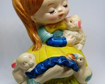 Little Girl and Her Lamb Music Box Spencer Gifts 1970's