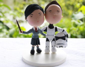 Stormtrooper groom with witch bride - Arms around each other. Star Wars/Harry Potter Themed Wedding. Unique keepsake