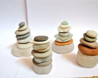 4pcs, Beach Stone Sculptures, Zen Stones, Meditation Stones, Cairn, Sea Glass, Balancing Stones, Stone Sculptures, Beach Stones, Home Decor