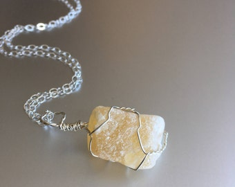Yellow Calcite Necklace, Wire Wrapped Stone, Boho Necklace, Raw Crystal, Sterling Silver, Healing Crystal Jewelry