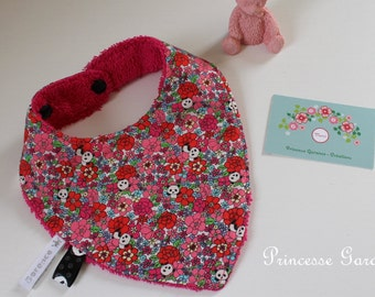 Bandana bib, cotton Japanese, pandas, flowers, double Terry