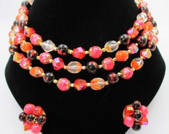 Winey Creations Demi Parure Multi Strand Necklace and Clip Earrings  - Hot Pink Fuschia, Red, Black and Orange
