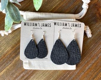 Black Crosshatch Leather Drop Earrings, Leather earrings, Statement earrings