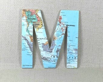 World Map Wall Letters, Map Wall Decor, Hanging Wall Letters, Map Letters, Wall Decor, Wanderlust Letters, Map Gift, Free Gift Wrapping!