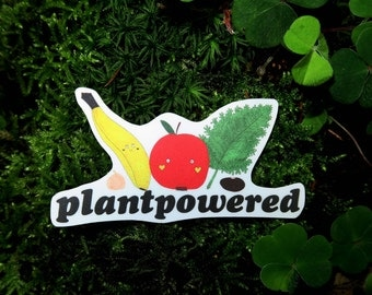 "Vegan Sticker ""PLANTPOWERED"" (waterproof/vinyl)"
