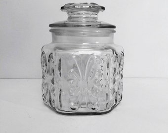 Vintage Glass Canister, Hexagon Apothecary Jar, Atterbury Scroll