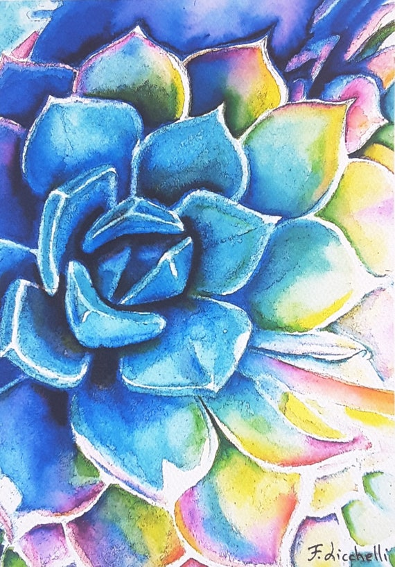 Rainbow colored succulent plant, Giclée fine art print of my original watercolor, 18 x 24 cm., gift idea for garden lovers, home decoration.