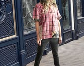 Distressed plaid shirt, pink Short sleeve, androgenous, urban street, boyfriend shirt, Upcycled, floral, vintage crochet lace, Guess, grunge