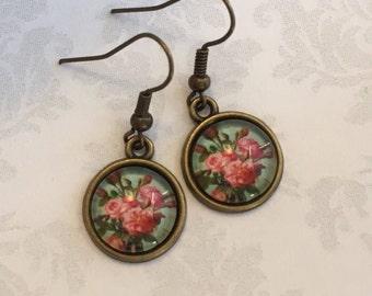 Pink Flower Earrings, Pink Flower Jewelry, Pink and Green Earrings, Vintage Style Earrings, Flower Jewelry, Gardening Gift, Gift under 25
