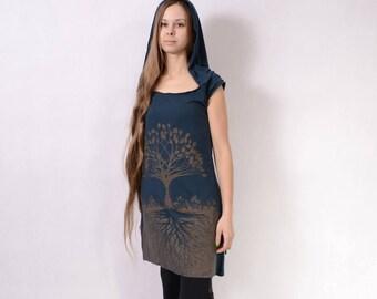 TREE OF LIFE Dress - Hoodie Dress Hippie Top, Hippie Dress, Festival Clothing, Long Dress, Boho Dress, Psytrance Dress