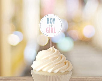 Boy Or Girl Gender Reveal Cupcake Toppers || Printable Gender Reveal Decorations || Gender Reveal Party Ideas, Cupcakes (DIGITAL PRODUCT)