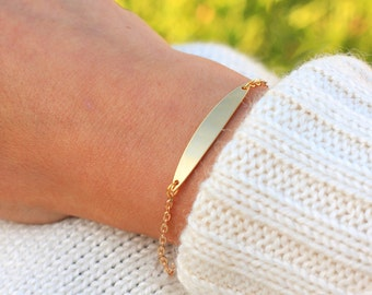 Dainty Curved Name Bar Bracelet | Gold Name Bar Bracelet - Personalized Bar Bracelet - Dainty Bar Bracelet - Custom Bar Bracelet - Gold Bar