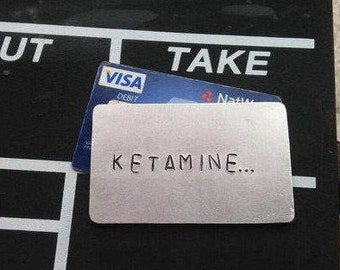 KETAMINE Wallet Insert Metal Joke Gag Gifts for Men Pablo Escobar Special K Boyfriend Drugs Gift Adult Party Funny Credt Card Size FREE POST