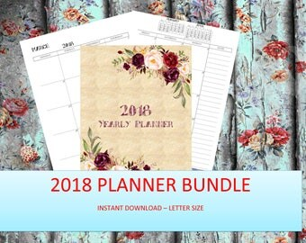 2018 Printable Planner, Yearly Planner, 2018 Monthly Planner, 2018 Weekly Planner, 2018 Agenda, Printable Planner 2018, 2018 Planner, A4