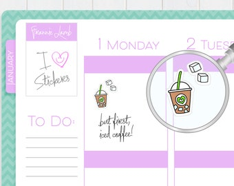 Iced Coffee Planner Stickers, Planner Stickers, Coffee Lover Stickers, Calendar Stickers, Small Kawaii Stickers, icon Stickers, Labels